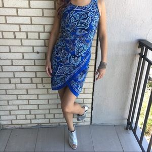 INC Paisley Floral Faux Wrap Bodycon Dress Cobalt